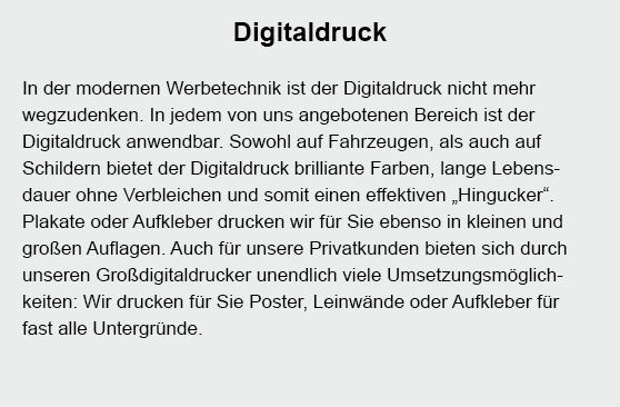 Digitaldruck für  Klinkrade